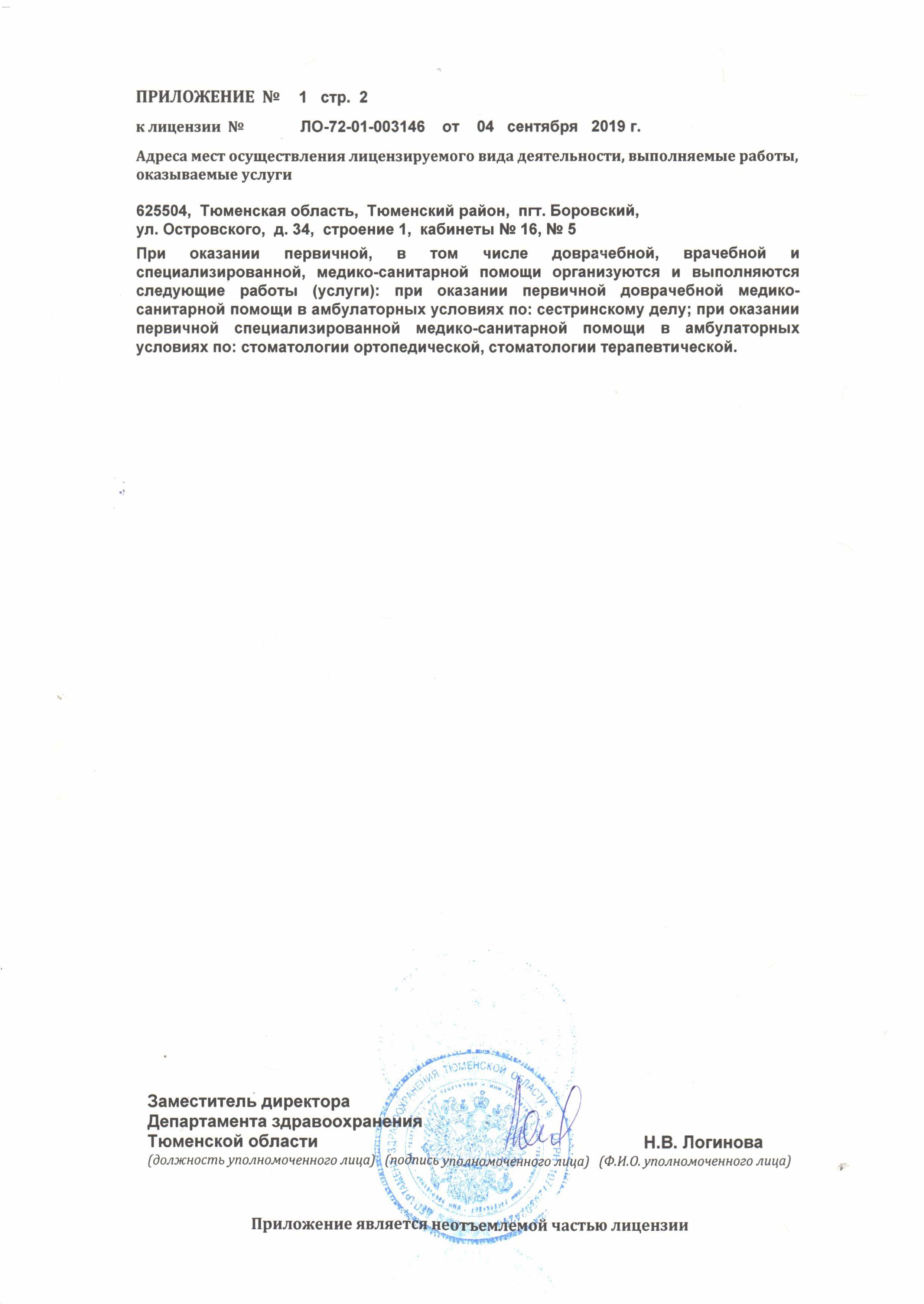 Приложение к лицензии на осуществление Медицинской деятельности